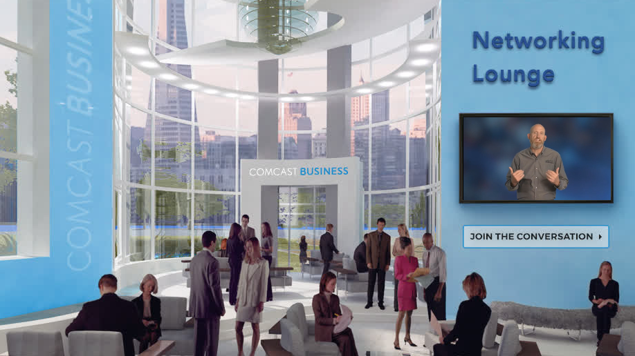 the networking lounge at the Comcast Business conference