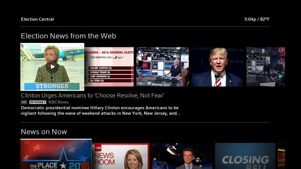 The Election Central hub on Xfinity X1